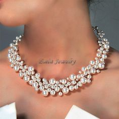 White Swarovski Pearl Vine Lace Bridal  Chocker Necklace - Wedding Gifts for Brides and Bridesmaids. $105.00, via Etsy.