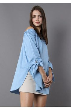 Twist on Sleeves Chambray Off-shoulder Tunic - Tops - Retro, Indie and Unique Fashion