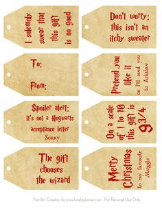 8 Free Printable Harry Potter tags to decorate your gifts for Christmas and all year. Harry Potter Tag, Harry Potter Teachers, Cadeau Harry Potter, Harry Potter Printables, Harry Potter Birthday, Harry Potter Christmas Gifts, Teacher Christmas Gifts, Christmas Ideas, Christmas Wrapping