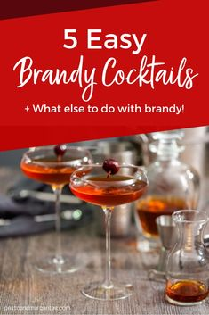There's a lot to do with a bottle of brandy including some very tasty sauce for Christmas pudding and great cocktails to enjoy after the meal Brandy Cocktails, Whiskey Cocktails, Easy Cocktails, Cocktail Drinks, Alcoholic Drinks, Beverages, Fun Drinks, Brandy Recipe, Recipes
