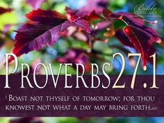 Boast not thyself of tomorrow; for thou knowest not what a day may bring forth. Proverbs 27:1
