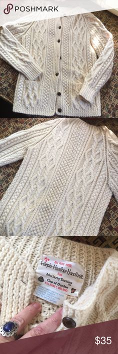 """The real deal Irish knit sweater Beautifully hand knit Irish fisherman sweater. In fabulous condition. There is no size tag but I think I would call it a small. 17"""" pit to pit. 23"""" long. Sweaters"""