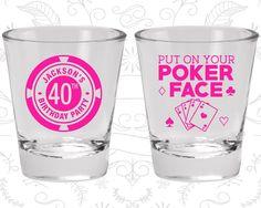 40th Birthday Shot Glass, Poker Birthday Shot Glass, Vegas Birthday, Birthday Shot Glass, Birthday Glass (20261)