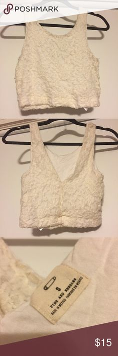 Urban Outfitters Lace Crop Top Urban Outfitters Lace Crop Top, ivory color, worn multiple times, still in decent condition! Urban Outfitters Tops