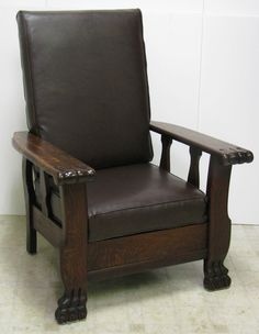 1901 MORRIS CHAIR -  THE ROYAL  - RARE -  PUSH BUTTON  RECLINER - Hand Made OAK & Rare Plantation Lounge Chair Antique Leather Cane Adjustable ... islam-shia.org