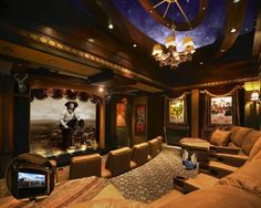 "A palatial estate in Jupiter, Florida, gives new meaning to the term Cowboy Chic with its rustic-looking home theater Once upon a time, ""ranch living"" conj"