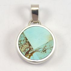 """Sterling Silver Pendant with Mosaic Inlaid Turquoise. .875"""" Width, 1.25"""" Height"""