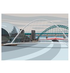 The Millennium Bridge seen from Ouseburn Digital Print (Archival) Size x Edition 250 Post & Packing Gateshead Millennium Bridge, Bridge Drawing, Bridge Design, Landscape Quilts, Natural Scenery, Art Themes, Modern Landscaping, Built Environment, Vintage Travel Posters