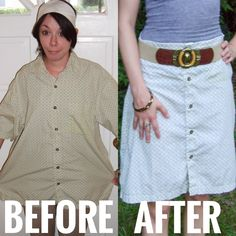 Refashion a men's button-up shirt into a cute A-Line skirt in this DIY tutorial by the Refashionista! No Sew Refashion, Refashion Dress, Mens Button Up, Short Sleeve Button Up, Button Up Shirts, Shirt Skirt, Blouse Dress, I Dress, Thrift Store Outfits