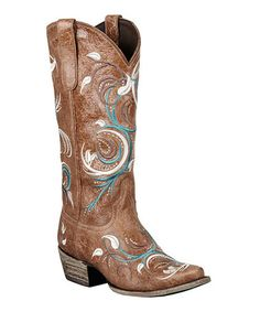 Another great find on #zulily! Tan Distressed Jeri Ann Cowboy Boots by Lane Boots #zulilyfinds