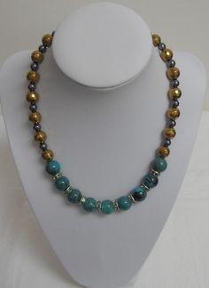15.5  Magnesite Teal Green Gold/ Black Hematite / by lanesamarie
