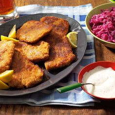 Pork Schnitzel with Dill Sauce Recipe -Schnitzel is one of my husband's favorites because it reminds him of his German roots. An appealing dish for guests, it's ready in a jiffy. Pop it on buns for a fun handheld option. —Joyce Folker, Paraowan, Utah
