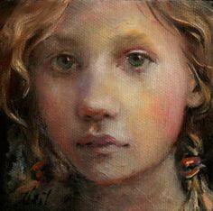 "Portrait by Moonglance Original Oil on Textured Canvas 4""x4""x1 5 "" OOAK | eBay"