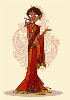 i felt like drawing rashmi in a traditional indian saree :) i'm not that good at capturing colours so it's just a simple one.