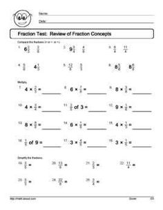 Printables 6th Grade Math Worksheets Fractions the ojays math and fractions worksheets on pinterest 6th grade fraction printables worksheets