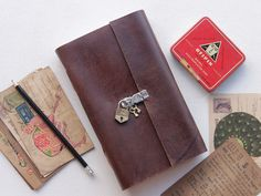 Large Leather Journal With Padlock from Scaramanga