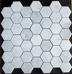 Bianco Carrera White Marble Hexagon Mosaic Tile Honed - modern - floor tiles - by Mosaictiledirect