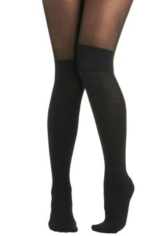Know a Trick or Two Tights. Youre a clever clothing diva and you love to discover style shortcuts like these Pretty Polly black tights that boast two looks in one! #black #modcloth