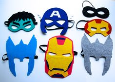 Avengers Super Hero Felt Mask set of 7 masks = Thor/Iron man/Hulk/Capitan America by MelissasStitches, $40.00