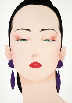 🔆🔆🔆by: Ichiro Tsurato🔆🔆🔆 Japanese visual artist, was born in 1954 in the city of Hondo in Kumamoto Prefecture, Ichiro Tsuruta grew up in Kyushu's Amakusa Region, Japan. Art Deco Illustration, Beauty Illustration, People Illustration, Illustrations, Kumamoto, Amakusa, Geisha Art, Art Deco Posters, Japanese Painting