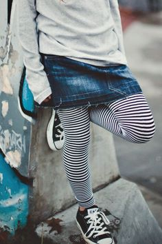 baggy top, jean skirt, striped leggings & sneakers - so cute