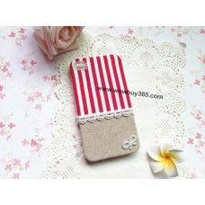 Red White Streak  Fabric iPhone 4/4s/5 Case