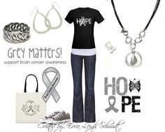 """Brain Cancer Awareness    Featuring: """"Easy Living"""" necklace, """"Woven"""" bracelet """"Malibu"""" earrings. and """"Crossroads"""" ring."""