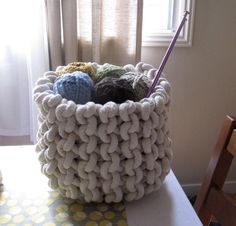 Pattern is available at: http://www.ravelry.com/patterns/library/giant-knit-rope-basket