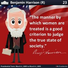 Benjamin Harrison, Presidential History, Republican Presidents, Manners, Instagram Accounts, Women, Woman