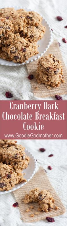 Loaded with oats, nuts, dried cranberries, and dark chocolate, these make-ahead breakfast cookies are freezer-friendly & pair perfectly with a latte or milk. Recipe for this great breakfast idea on GoodieGodmother.com
