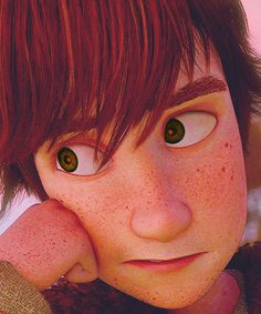 OMG, I LOVE the amount of detail in his design! From his many freckles to the little stubble around his mouth to his eyes. (If you look closely, you can see tiny red veins. Even his irises are flame-shaped. <3) It just makes me appreciate the animators' hard work even more.