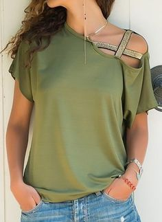 Casual Irregular Sloping Shoulder Short T-shirt shoulder Sleeves Tops # Shoulder Off, One Shoulder Shirt, Cold Shoulder, Casual T Shirts, Casual Tops, Fashion Trends 2018, Short T Shirt, Blouses For Women, T Shirts For Women