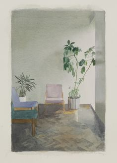 Paul Winstanley. Interior with Two Plants, Watercolour on Fabriano Paper 67X49.8cm, Image 51X34cm, 2010