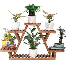 Wood Plant Stand Indoor Outdoor 6 Tiered Corner Plant Shelf Holder Flower Pot Display Shelving Rack A Frame Succulent Organizer Shelves for Balcony Garden (Triangular,Cute,Upgrade Screw with Gasket)