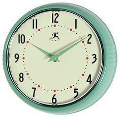 Nursery.  Infinity Instruments Retro 9-1/2-Inch Round Metal Wall Clock, Green contemporary clocks