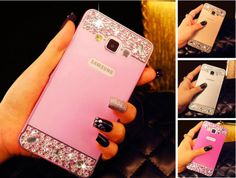 Perfect Pink Samsung Note 4 S5 Bright Diamond Cases Or Covers With Metal Frame
