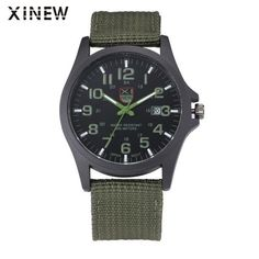 XINEW Brand Outdoor Mens Date Stainless Steel Military Sports Analog Quartz Army Wrist Watch