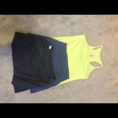 Workout Bundle These are two reebok tennis skirts. One is blue the other is black. They both have built in shorts underneath. The yellow top is a yoga type shirt from Old Navy. Draw string at the bottom. If interested in a single item. They are $10 each. Reebok Skirts Skirt Sets