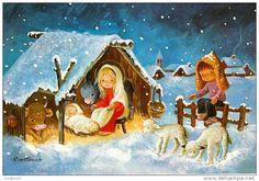 Christmas Manger, Christmas Past, Xmas, Clipart Noel, Nativity Painting, Catholic Kids, O Holy Night, Christmas Graphics, Vintage Christmas Cards