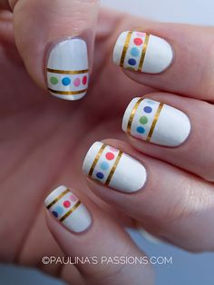 Polka dots nails with striping tape  they remind me of Easter eggs so why not do this nail art for a Easter dinner :)
