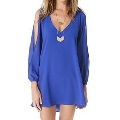 <Sexy V-Neck Long Sleeve Solid Color Chiffon Dress For Women