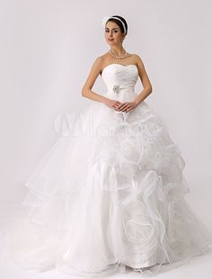 Strapless Tiered Wedding Gown with Embellished Sash and Flange Skirt