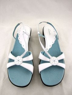 Cute Clarks!  Sandals with floral accents!