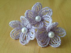 FREE SHIPPING  Lilac  French Beaded Flower by FloralUniqueDesign