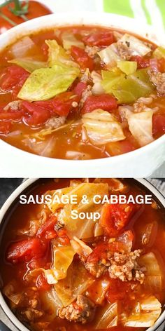 Sausage & Cabbage Soup - This low carb soup is easy to make and tastes delish! It's comfort food perfect for a cold winter's day. This low carb soup is easy to make and tastes delish! It's comfort food perfect for a cold winter's day. Cabbage Soup Sausage, Cabbage Soup Recipes, Sausage Soup, Best Cabbage Recipe, Vegetarian Cabbage Soup, Cabbage Stew, Cabbage Roll Soup, Sausage Balls, Low Carb Soup Recipes