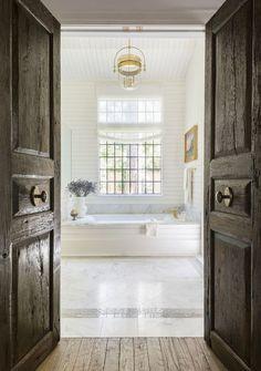 Serene Bathroom, Master Bathroom, Tudor Style Homes, Country Interior, Interior Doors, Unique Flooring, Ensuite Bathrooms, Ship Lap Walls, Modern Country