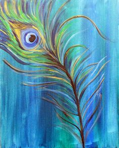 """Original Modern Peacock Feather Acrylic Painting SALE -16""""x20""""inches by Kathleen Fenton"""