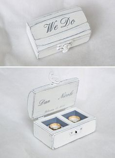 If you don't want to keep your wedding ring separate from your other half's, consider this gorgeous double ring box from GregolinoWedding at Etsy