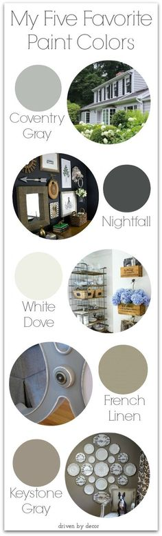 My Five Favorite Paint Colors - love these!!
