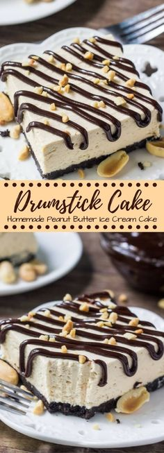 Drumstick cake is an easy, homemade, no bake peanut butter ice cream cake with all the flavor of drumstick ice cream cones. With an Oreo crust, fudge sauce & peanuts - if you love buster bars you defi (Easy Homemade Butter) Ice Cream Desserts, Köstliche Desserts, Frozen Desserts, Ice Cream Recipes, Drumstick Cake, Drumstick Ice Cream, Drumstick Recipes, Peanut Butter Ice Cream, Homemade Peanut Butter